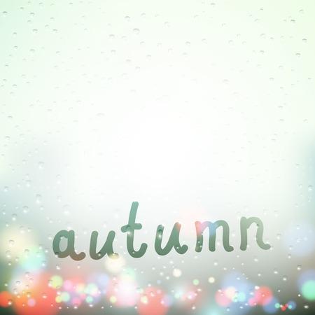 steamy: Fall word written on Sweaty Window