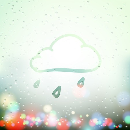 comin: cloud and drops painted on Sweaty Window Illustration