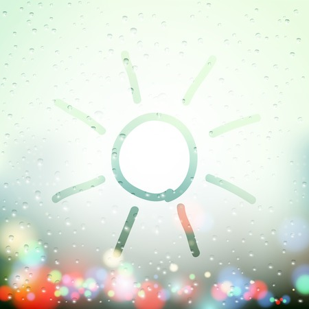 rain window: Sun drawn on Sweaty Window