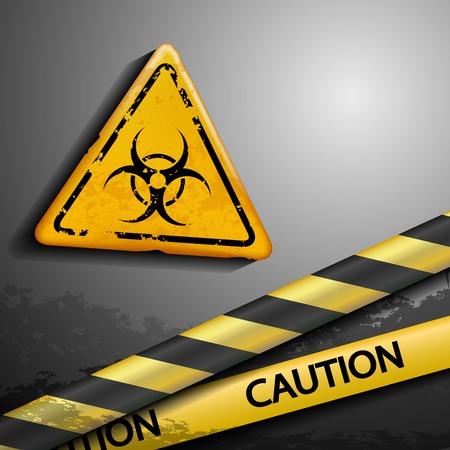 warning tape: biohazard symbol and warning tape