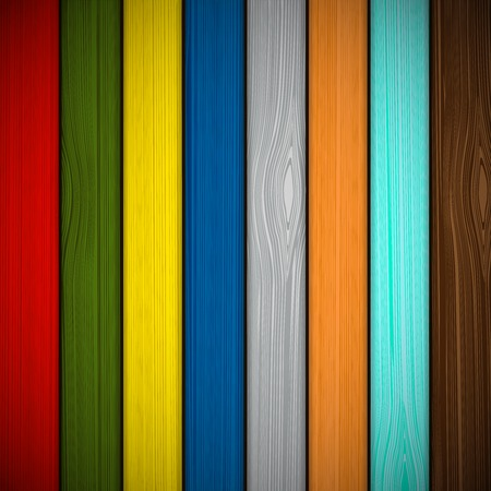 sawn: Wooden fence painted in different colors