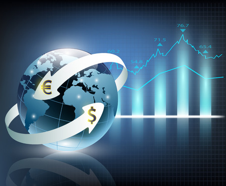 rent index: arrows around planet earth and world currency
