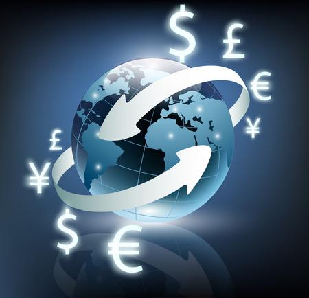 dinero volando: flechas alrededor planeta tierra y la moneda mundial