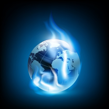 gas flame: Planet earth and blue flames