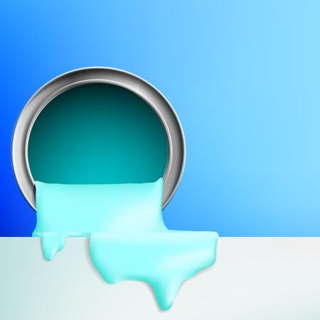 verf stroomt uit de emmer