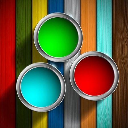paint container: buckets of paint on the wooden floor