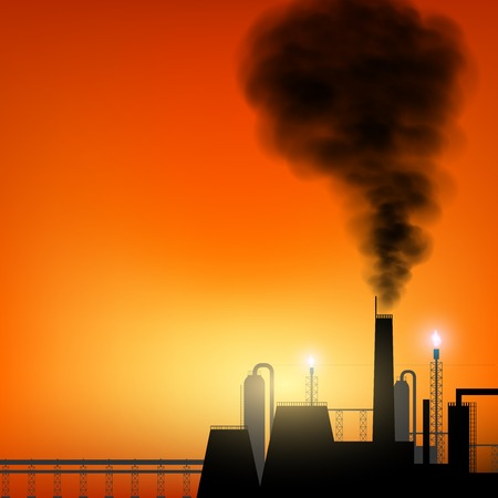 emissions: Factory with chimneys and smoke on sunset background