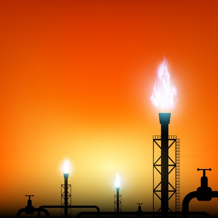 speculation: tube with a blue flame of gas on a sunset background Illustration
