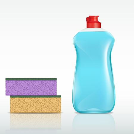 disinfect: plastic bottle with detergent and sponge Illustration