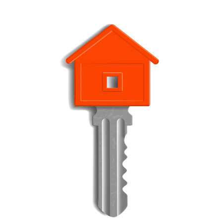 home products: the key to the lock in the form of house isolated on white background