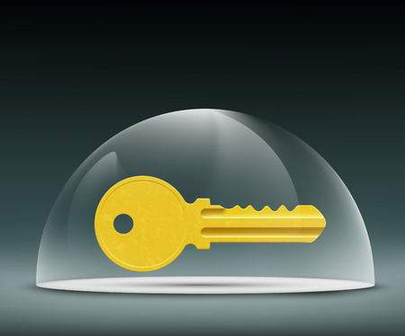 glass dome: key to the lock under a glass dome