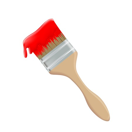 dyeing: paint brush and red paint