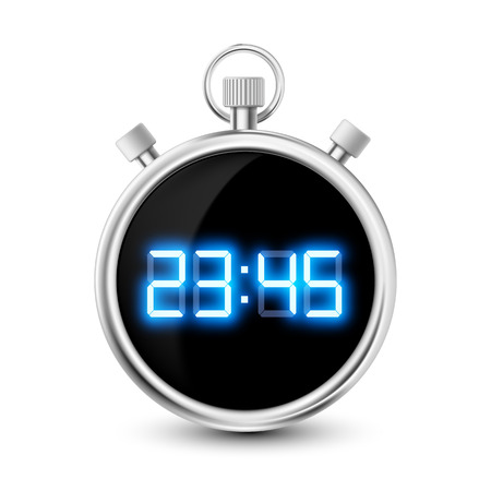 timescale: digital stopwatch with blue numerals isolated on white background