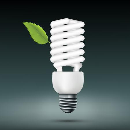 bombillo ahorrador: Vector de la l�mpara ahorro de energ�a con la hoja verde
