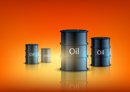 petroleum blue: barrels of fuel on an orange background