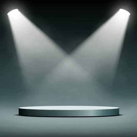 light beams: two spotlights illuminate the podium for the presentation