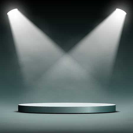 zwei Scheinwerfer beleuchten das Podium für die Präsentation