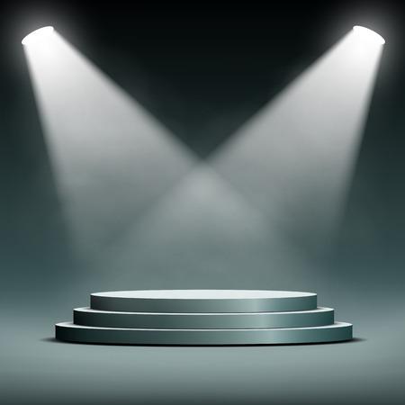 floodlight: two spotlights illuminate the podium with steps Illustration