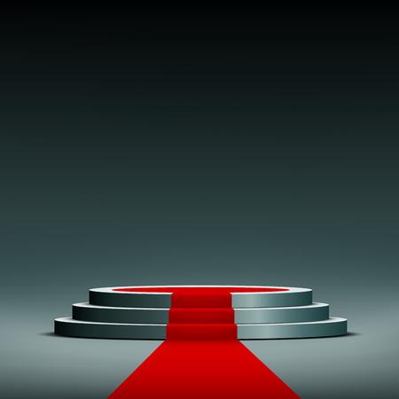 luz roja: alfombra roja en el pedestal Vectores