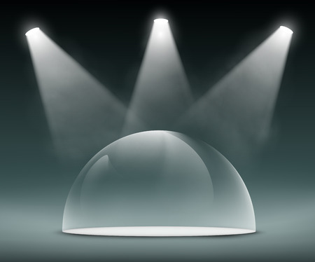 spotlights illuminate the glass dome