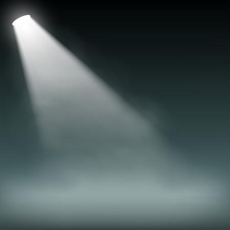 Spotlight illuminates smoke on a dark background