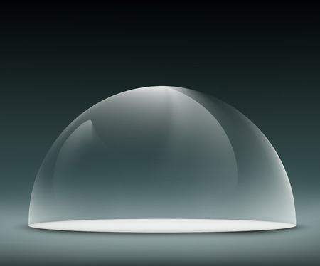 glass dome: glass dome on a dark background Illustration