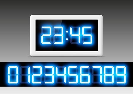 digital timer: digital clock with a set of numbers Illustration
