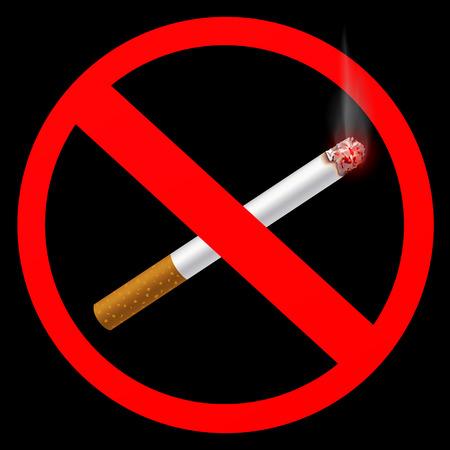 smell of burning: sign prohibiting smoking Illustration