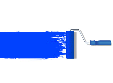 paint roller: vector realistic paint roller painting a blue line