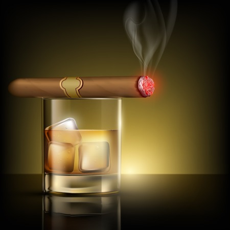 scotch whisky: glass of whiskey with ice cubes and cigar