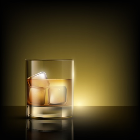 bourbon whisky: glass of whiskey with ice Illustration