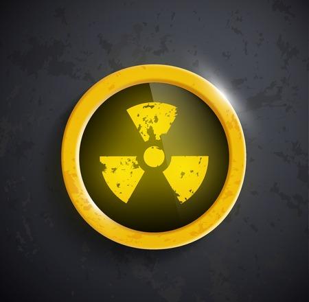 radioactivity: botón con el signo de la radiactividad Vectores