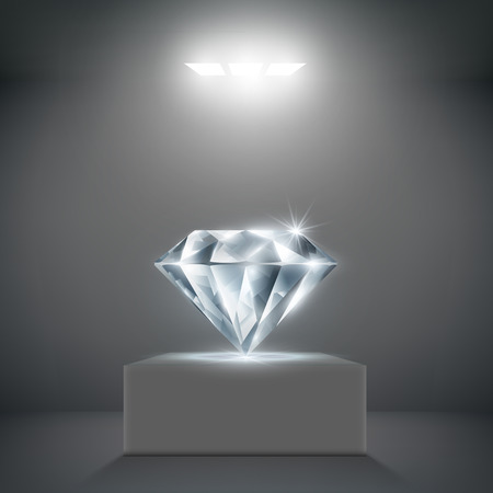royal blue background: diamond on a pedestal