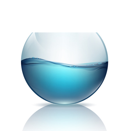 fishbowl: fishbowl with water isolated on a white background