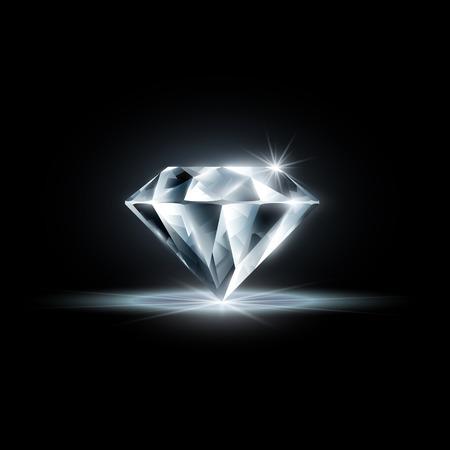 黒の背景に分離されたダイヤモンド