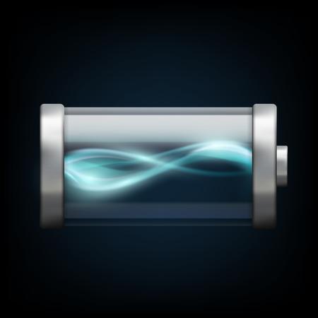 plasma: battery with plasma isolated on a black background Illustration