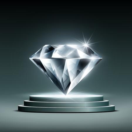 diamant op het podium Stock Illustratie