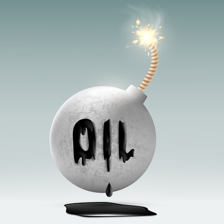 oilwell: round bomb with a fuse and an inscription oil