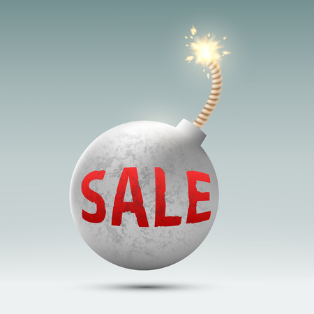 bomb price: round bomb with the word sale Illustration