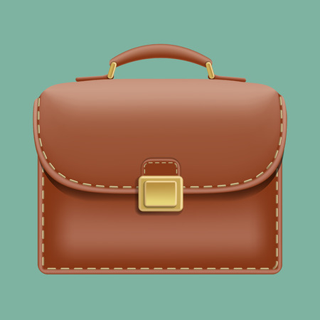 leather briefcase: Vector brown leather briefcase