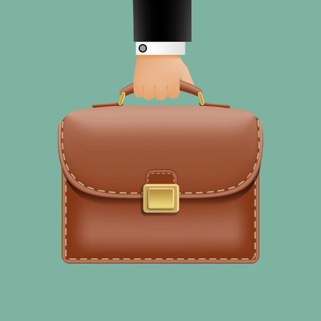 man in a suit holding a brown briefcase Vector