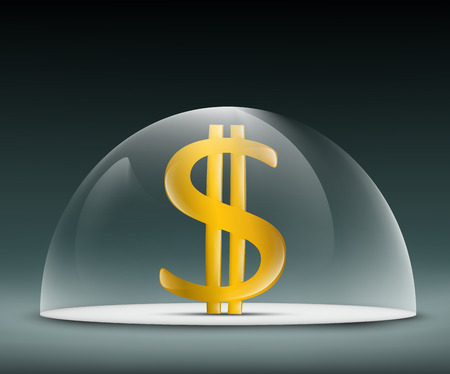 glass dome: Dollar under a glass dome