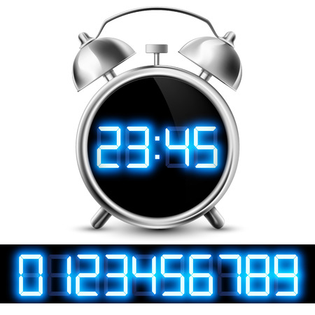 digital clock: table clock with digital display and a set of numbers