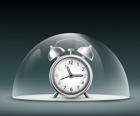 hour glass: alarm clock under a glass dome Illustration