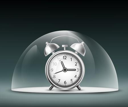 glass dome: alarm clock under a glass dome Illustration