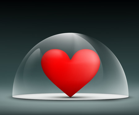 glass dome: human heart under a glass dome