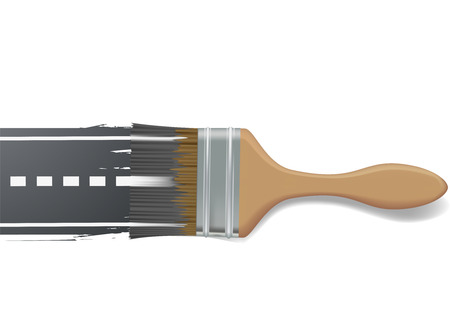 road marking: paint brush draws the road
