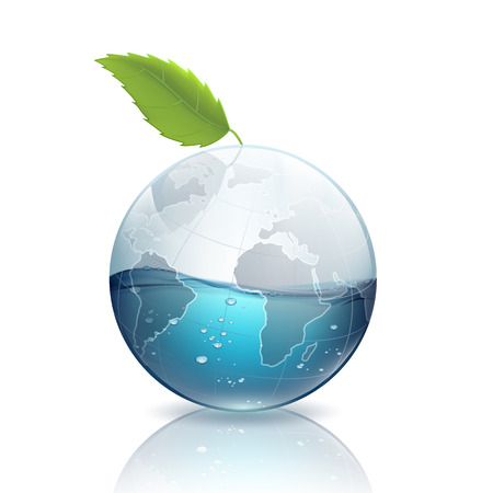save planet: Earth with green leaf and water Illustration