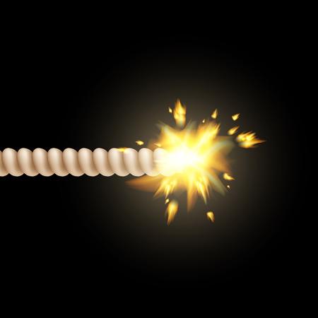 wick: burning fuse isolated on a black background Illustration