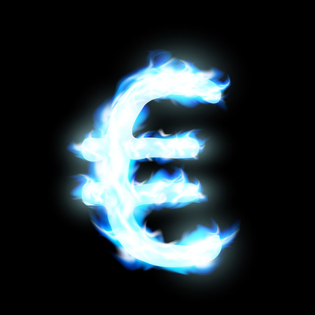 blue flame: Euro sign burning blue flame Illustration